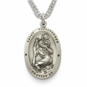 "Sterling Silver Engraved Oval St. Christopher Medal on 20"" Chain"