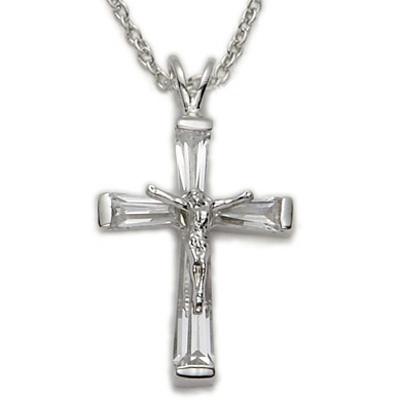 Sterling silver crucifix necklace in a crystal baguette design on 18 sterling silver crucifix necklace in a crystal baguette design on 18 chain aloadofball Images