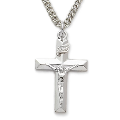Sterling silver crucifix necklace in a polished finish and beveled sterling silver crucifix necklace in a polished finish and beveled design on 18 chain aloadofball Images