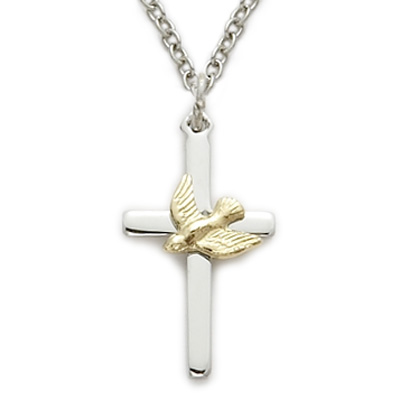 Sterling Silver Dove Cross Pendant Necklace (Comes With an 18 Inch Chain) wAKj2YfJps