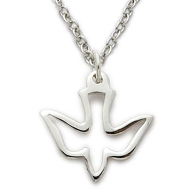 Sterling silver dove necklace in a pierced descending design on 16 sterling silver dove necklace in a pierced descending design on 16 chain aloadofball Image collections