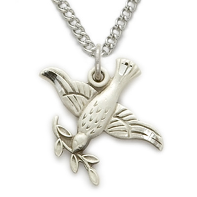 Sterling silver dove necklace in an olive branch design on 18 chain aloadofball Choice Image