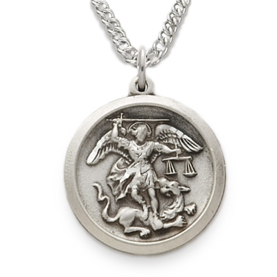 com st solid necklace shield dp in michael medal saint amazon badge protect us silver sterling