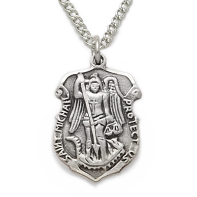 curb silver pendant inch sterling with badge p saint st michael necklace chain htm solid