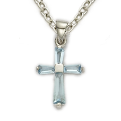 Sterling silver march aquamarine birthstone baby cross necklace on sterling silver march aquamarine birthstone baby cross necklace on 13 chain mozeypictures Images