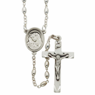 5mm Oval Sterling Silver Rosary Beads Necklace with Miraculous Center and  Crucifix