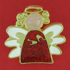 Whimsical Christmas Angel Enamel Lapel Pin With Red Body