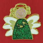 Whimsical Christmas Angel Enamel Lapel Pin With Green Body