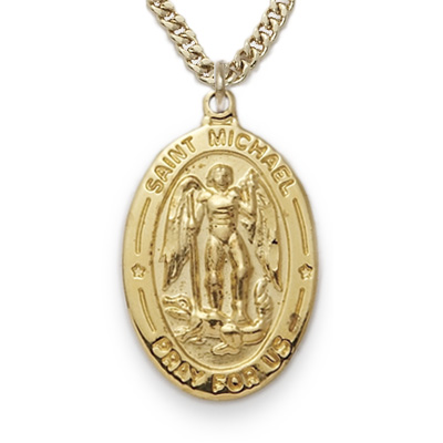 michael image saint tone itm archangel with pendant st medal silver is prayer necklace loading protection s