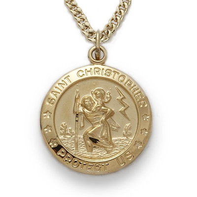 24k gold over sterling silver round st christopher medal on 20 chain mozeypictures Images