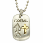 """Lead Free Pewter Football Dog Tag on 24"""" Stainless Steel Chain"""