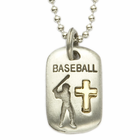 "Lead Free Pewter Baseball Dog Tag on 24"" Stainless Steel Chain"