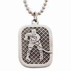 "Lead Free Pewter Ice Hockey Dog Tag on 22"" Stainless Steel Chain"