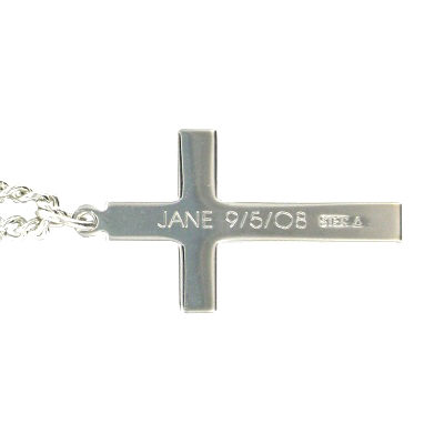 Sterling silver cross necklace in a engraved design on 18 chain engraving on aloadofball Images