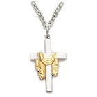 "Sterling Silver Cross with Gold Finsh Draped Robe on 18"" Silver Chain"