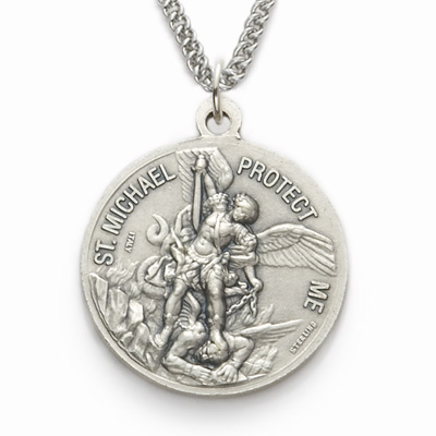 Mens sterling silver us coast guard medal st michael on back click to enlarge back of mozeypictures Gallery