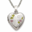 "Sterling Silver Heart Locket with Flowers and Etched Cross Design on 18"" silver chain"