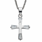 "Sterling Silver Cross with CZ Crystal Baguette Stones on 18"" silver chain"