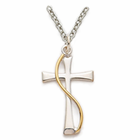 "Sterling Silver Flared Cross with Gold Finsh Sash on 18"" silver chain"
