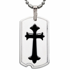 Sterling Silver Black Enamel Cross Necklace in Dog Tags Design