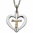 "Sterling Silver Heart with Crucifix Center on 18"" silver chain"