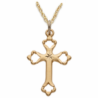 "Sterling Silver 14k Gold Plated Engraved Budded Coss 18""Chain"