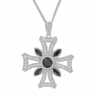 Sterling Silver Iron Cross Necklace with Genuine Onyx and Crystal CZ Stones