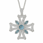 Sterling Silver Iron Cross Necklace with Aqua Accents and Crystal CZ Stones