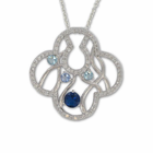 Sterling Silver Round  Cross Necklace with Sapphire CZ Stones