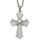"""Sterling Silver White Pearl Cross on 18"""" Silver Chain"""