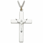 "Sterling Silver Risen Christ Cross with Our Father Prayer on back on 24"" Chain"
