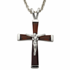 "Sterling Silver January Birthstone Crucifix on 18"" chain"