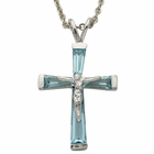 "Birthstone Sterling Silver March Crucifix on 18"" chain"