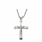 "Sterling Silver April Birthstone Crucifix on 18"" chain"