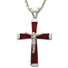 "Sterling Silver July Birthstone Crucifix on 18"" chain"