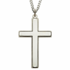 "Sterling Silver Cross Necklace with Our Father Prayer on back of Cross on 24"" Chain"
