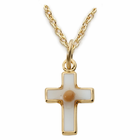 "14k gold filled baby cross with mustard seed inside 13"" chain"