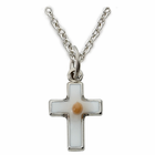 "Sterling Silver Baby Cross with Mustard Seed Inside 13"" chain"