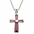 "Ladies Sterling Silver February Birthstone  Cross on 18"" chain"