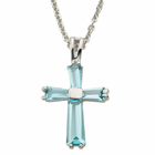 "Ladies Sterling Silver March Birthstone  Cross on 18"" chain"