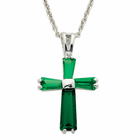 "Ladies Sterling Silver May Birthstone  Cross on 18"" chain"