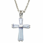 "Ladies Sterling Silver June Birthstone  Cross on 18"" chain"
