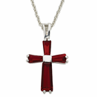 "Ladies Sterling Silver  July  Birthstone Cross on 18"" chain"
