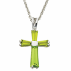 "Ladies Sterling Silver August Birthstone  Cross on 18"" chain"