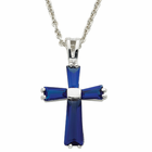 "Ladies Sterling Silver September Birthstone  Cross on 18"" chain"