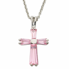"Ladies Sterling Silver October Birthstone  Cross on 18"" chain"