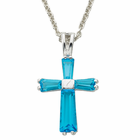 "Ladies Sterling Silver  December Birtsthone  Cross on 18"" chain"