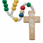 Multi Colored  Wood Bead Elastic Stretch Rosary