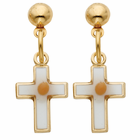 14k gold filled cross earrings with mustard seeds