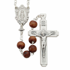 8mm Brown Wood Bead Rosary
